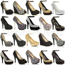 WOMENS LADIES HIGH HEEL PLATFORM PEEPTOE GEM JEWELLED PARTY EVENING PROM SHOES