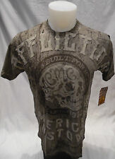AFFLICTION Mens Skull American Devil Crew Neck Shirt Mud Grey S M L XL 3XL A9588