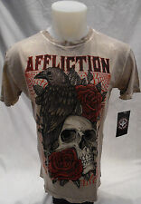 AFFLICTION Mens Shirt Skull Rose Eagle Crew Neck Beige Size XL Size 3XL A10513