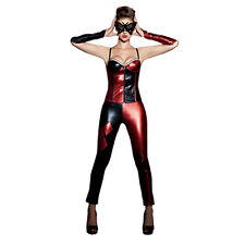 New Red Harlequin Harley Quinn Jester Masquerade Mardi Gras Fance Dress Costume