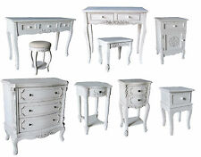 Shabby Chic White Wash Furniture Bedside, Dressing Tables Drawers Stools Vintage