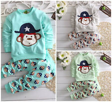 2pcs kids baby boys tops+ pants Set Outfit boys autumn clothing pirate monkey