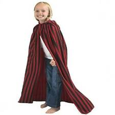 CHILD RED AND BLACK CLOAK CAPE WITH HOOD - AGE 7 - 9 YEARS (140CM)