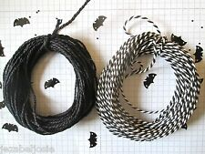 20mts  2mm Thick Cotton Bakers Twine. 10mts black + 10mts stripy black Halloween