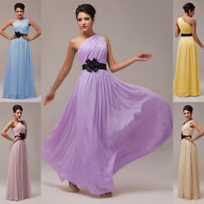 Graceful One Shoulder Prom Dress Formal Long Bridesmaid Evening Pageant Ballgown