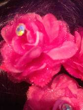 Crystal Flower Hair CLIP Brooch crystal centre WEDDING PROM EVE PINK CREAM x3