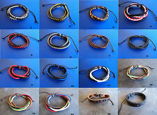 New Mens Womens Surfer Tribal Braided Leather Bracelet Multi Wrap Wristband Punk