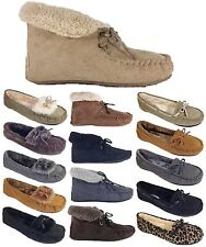 Women Fur Lined Moccasin Suede Rubber Sole Slipper Winter Flats Shoes Slip On FB