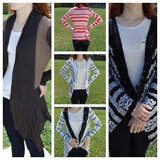 Striped Cardigan Sweater Cool Weather Fashion Long Lace Top Medium USA NEW S-XL
