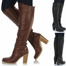 Womens Ladies Leather Style Over Calf Knee High Block Heel Sretch Boots Shoes