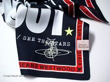 New Vivienne Westwood Handkerchief / Mini Scarf BLACKOUT Star Orb BLK Japan-Made