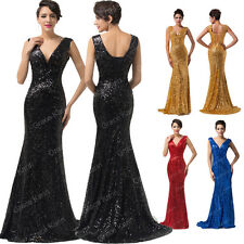 CHEAP~ Sequins Bridal Gown Mermaid Bodycon Formal Long Evening Dress Homecoming