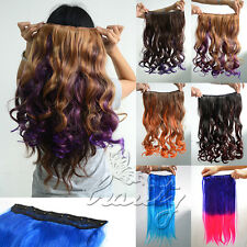"""20-22"""" Curly/Straight Hair Extensions Clip in Weft Ombre ONE PIECE with 5 Clips"""