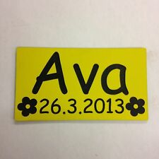 ENGRAVED NUMBER PLATE NAME DATE WITH FLOWERS LITTLE TIKES COZY COUPE RIDE ON