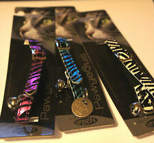 DESIGNER CAT COLLARS WITH BELL AND ID TAG HAND ENGRAVED - SAFARI