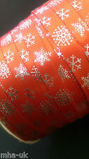 Red self adhesive Christmas snowflake 10mm satin ribbon/xmas/decorating ribbon