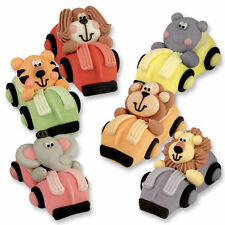 3D Sugar Animals in Racing Cars  - Edible Cupcake / CakeToppers for Decoration