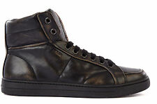 PRADA MEN'S SHOES HIGH TOP LEATHER TRAINERS SNEAKERS NEW VINTAGE BLACK  EC2