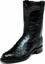 Justin Men's Black Full Quill Ostrich Western Boots Made In USA Wide 3171