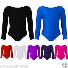 Girls-Leotard-Stretchy-Dance-Gymnastics-Ballet-Sports-Sleeved-Top-Uniform