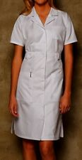 DICKIES Button Front WHITE Scrub Dress 84500 Nurses/Students/Medical Assistants