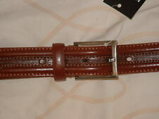 "Men's Bonded Leather Belt 1.25"" Wide 32""-48"" (M-XXL) Brown – Stitch & Embossed"