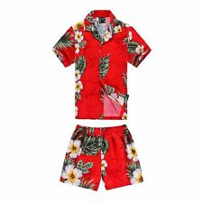 Boy Toddler Aloha Shirt Set Shorts Beach Hawaiian Cruise Luau Cotton Red Floral