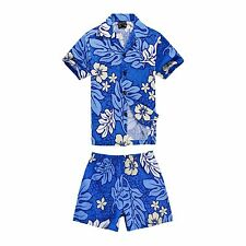Boy Toddler Aloha Shirt Set Shorts Beach Hawaiian Cruise Luau Cotton Blue Floral