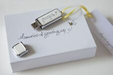 'Memories of growing up' USB in gift package,18th, 21st, new baby shower present