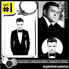 Justin Timberlake KEYCHAIN + BUTTON or MAGNET or MIRROR suit & tie and pin #1508