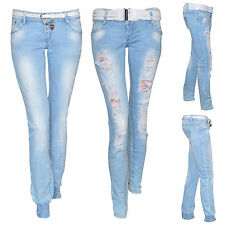 New Womens Stretch Faded Ripped Cuff Slim Fit Skinny Belted Denim Jeans Size UK