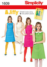 Simplicity 1609 Sewing Pattern 1960s Retro Vintage Mod Style Dress Sizes 6-22