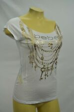 BEBE t shirt top Logo Basic Rhinestone Tee White chain merrow edge 234955