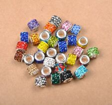 10pcs Big Hole TUBE SHAPES Czech Crystal Rhinestone Spacer Fit European Beads