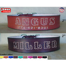 "Name Leather Dog Collar with standard letters, variety of colors 1.5"" Big Dog"