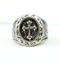 Mens Cool Jewelry Titanium Stainless Steel Cross Vintage Ring Size 8-14