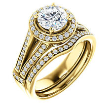 1ct 6.5mm Forever Brilliant Moissanite halo 14K Yellow Gold Engagement Ring Set