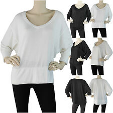 Womens V Neck Knit Top 3/4 Dolman Sleeve Shirt Solid Plain Batwing Draped Casual