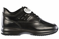 HOGAN SCARPE SNEAKERS UOMO IN PELLE NUOVE INTERACTIVE NERO SHOES MEN'S TRAIN 075