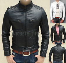 MENS BLACK SLIM FIT FAUX LEATHER JACKET VINTAGE RETRO ALL SIZE ALSO WHITE COLOR