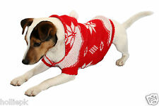 DOG PUPPY WINTER CHRISTMAS JUMPER WITH HOOD XS, SML, MED OR LARGE GIFT IDEA
