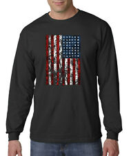 American Flag Distressed Tattered Vintage USA Long Sleeve T-Shirt S-3XL