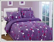 Dark Purple Maroon White Soft Feel Jacquard * KING QUEEN QUILT DOONA COVER SET