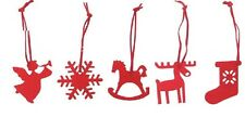 New 6 Red Felt Christmas Xmas Decorations Reindeer Star Angel Snowflake Stocking
