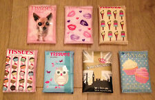 THEMED POCKET TISSUES, PARTY BAGS, WEDDING FAVOURS 7 DESIGNS OR MIX & MATCH