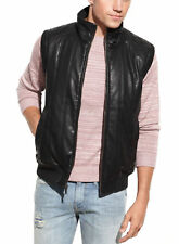 Guess Black Faux Leather Pleather Vest With Camouflage Lining Jacket