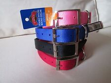 NYLON DOUBLE PLY DOG COLLARS -HIGH QUALITY- VARIOUS SIZES/COLORS- NEW WITH TAGS