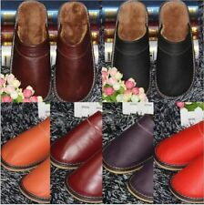 Mens Womens Scuffs Genuine Leather Slippers Warm Comfort skidproof House Shoes