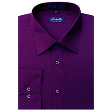 New Amanti Mens Blackberry Eggplant Solid Dress Shirt