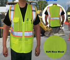 NEW HI VIS ANSI/ISEA Class 2 Safety Reflective Contrast Vest w/ Soft Rice Mesh